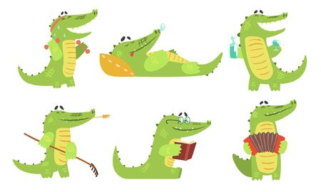Cute Crocodile Cartoon Character in Different Situations Set, Funny Humanized Reptile Alligator Animal Vector Illustration