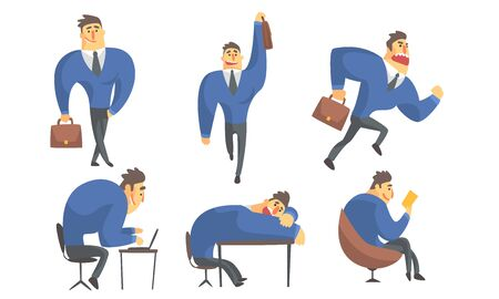 Funny Businessman Cartoon Character in Different Situations Set Vector Illustration