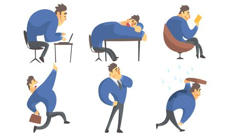 Funny Businessman Cartoon Character in Blue Suit in Different Situations Set Vector Illustration Banque d'images - 131186852