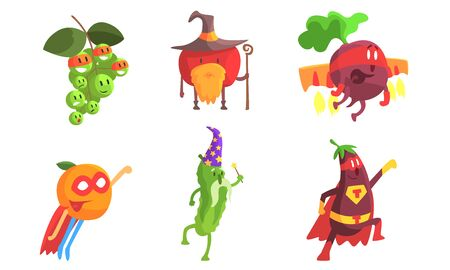 Funny Fruits and Vegetables Characters Wearing Wizard and Superhero Costume Set, Grape, Apple, Beetroot, Orange, Cucumber, Eggplant Vector Illustration Ilustração