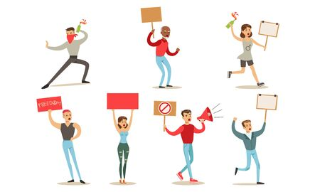 Protesting People Set, Manifesting Activists Taking Part in Political Meeting, Parade, Rally Vector Illustration Иллюстрация