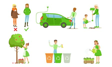 People Taking Part in Environmental Protection Set, Men and Women Sorting and Recycling Waste, Growing Plants, Using Eco Friendly Transport and Energy Renewable Resources Vector Illustration