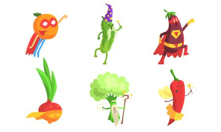 Funny Fruits and Vegetables Characters Wearing Wizard and Superhero Costume Set, Orange, Cucumber, Eggplant, Onion, Broccoli, Hot Chilli Pepper Vector Illustration Çizim