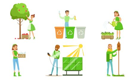 People Taking Part in Environmental Protection Set, Men and Women Sorting and Recycling Waste, Growing Plants and Using Eco Friendly Energy Renewable Resources Vector Illustration