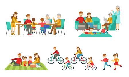 Happy Family Having Good Time Together Set, Parents, Grandparents and Children Drinking Tea, Having Picnic, Riding Bikes, Rollerblading Vector Illustration