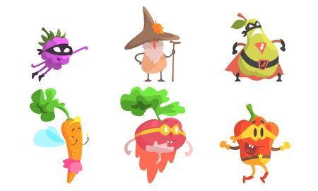 Funny Fruit Characters Wearing Wizard and Superhero Costume Set, Blackberry, Pear, Carrot, Radish, Pepper Vector Illustration Ilustração