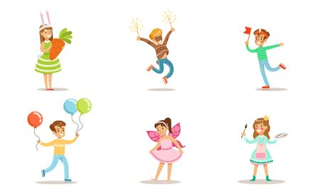 Happy Kids with Painted Faces and Festival Costumes Set, Cyte Boys and Girls Having Fun at Party Vector Illustration