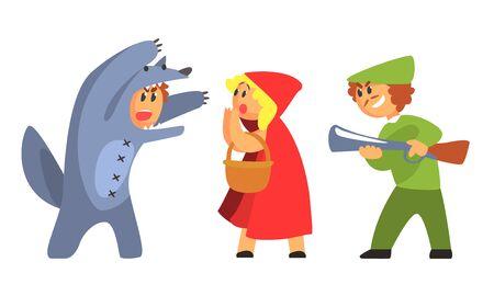 Rotkäppchen, Wolf und Jäger, lustige Märchenfiguren, Schauspieler in Kostümen, die auf der Bühnenvektorillustration auftreten Vektorgrafik