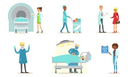 Doctors Examining and Treating Patients Set, Medical Care in Clinic or Hospital Vector Illustration Archivio Fotografico - 131104159