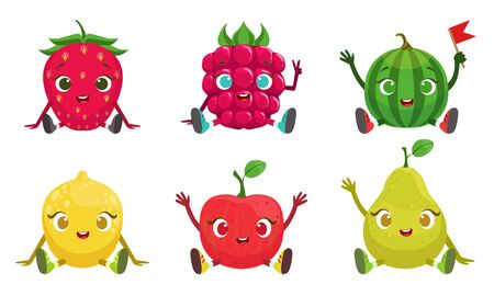 Collection of Cute Fruit and Berries Cartoon Characters with Funny Faces, Strawberry, Raspberry, Watermelon, Lemon, Apple, Pear Vector Illustration Stock Illustratie