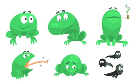 Collection of Funny Green Frog with Various Emotions, Amphibian Animal Character in Different Situations Vector Illustration