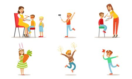 Happy Kids with Painted Faces and Festival Costumes Set, Boys and Girls Having Fun at Party Vector Illustration