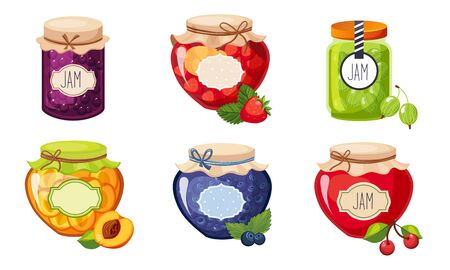 Fruit and Berries Jam Jar Glasses Set, Strawberry, Apricot, Cherry, Gooseberry, Blueberry Vector Illustration