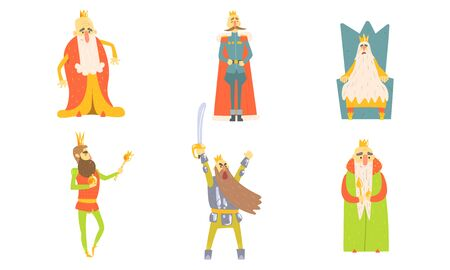 Funny King Cartoon Characters Posing in Different Situations Set Vector Illustration Stock Illustratie