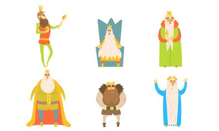 Funny King Posing in Different Situations Set Vector Illustration, Fairy Tale Cartoon Characters Vector Illustration