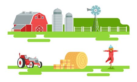 Eco Farm and Agricultural Elements Set, Silo Tower, Red Barn, Wind Turbine, Tractor, Scarecrow Vector Illustration on White Background.
