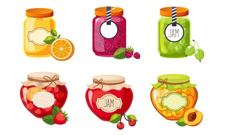 Fruit and Berries Jam Jar Glasses Set, Strawberry, Apricot, Raspberry, Orange, Cherry, Gooseberry Vector Illustration on White Background. Stock Illustratie