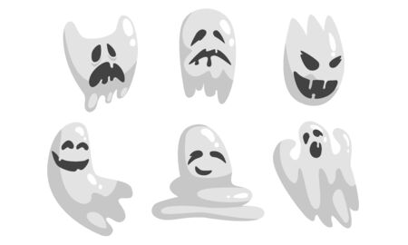 Cute White Ghost Cartoon Character Set, Funny Halloween Scary Ghostly Monster with Various Emotions Vector Illustration on White Background.