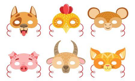 Animals Carnival Masks Set, Dog, Rooster, Monkey, Pig, Goat, Fox Vector Illustration on White Background.