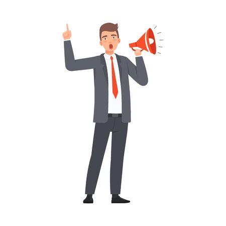 Líder habla en vector de ilustración de personaje de grito Ilustración de vector