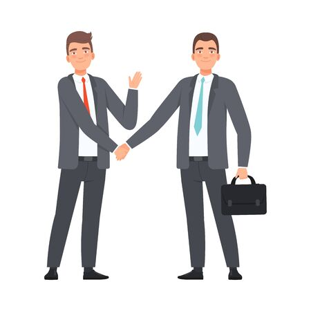 Business Partners Handshaking character Illustration Vector on a white background