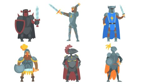 Medieval Knights with Swords Set, Ancient Warriors Characters in Armour Vector Illustration Illustration