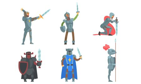 Medieval Knights with Swords Set, Ancient Warriors Historical Characters in Armour Vector Illustration