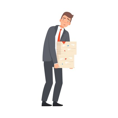 Office businessman employee worker with a huge number of tasks, papers on a white background character illustration vector