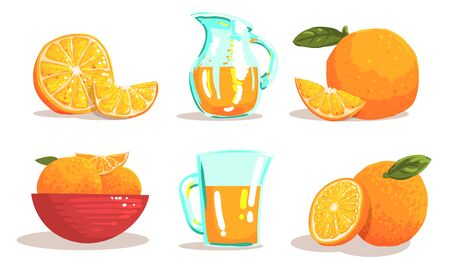 Ripe Sliced Oranges and Jug of Fresh Juice Set Vector Illustration Иллюстрация