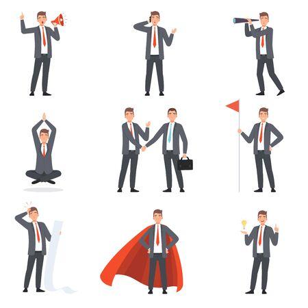 Personaggi di uomini d'affari, persone in giacca e cravatta in diverse situazioni illustrazione vettoriale