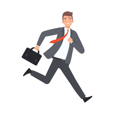 Businessman Running With Case character Illustration Vector Illustration
