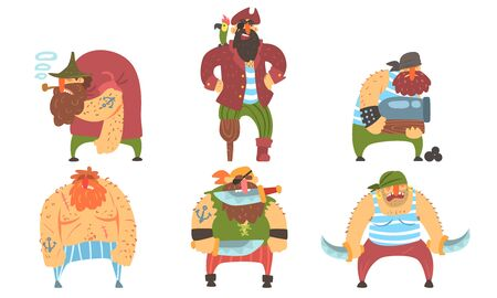 Funny Brave Sailors Pirates, Male Buccaneers Cartoon Characters Vector Illustration Illustration