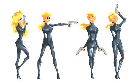 Beautiful Spy Blonde Girl in Black Leather Clothes with Gun Set, Female Secret Agent Vector Illustration