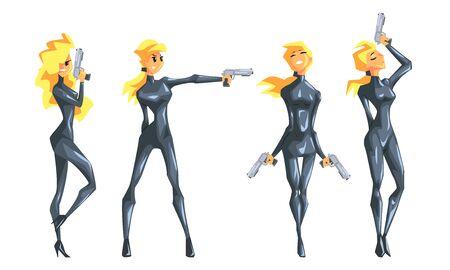 Schönes blondes Mädchen des Spions in der schwarzen Lederkleidung mit Gewehrsatz, weiblicher Geheimagent-Vektor-Illustration