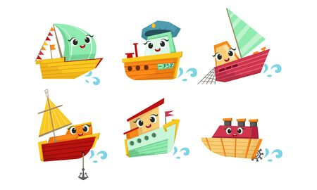 Cute Ship Cartoon Character Set, Funny Steamboat, Yacht, Ship Vector Illustration