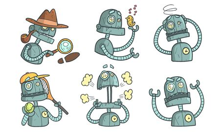 Vintage Robot Character Set, Funny Steampunk Robotics in Different Situations Vector Illustration  イラスト・ベクター素材