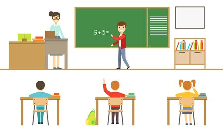 School Lesson, Pupils Sitting at Desk, View from Behind, Schoolboy Standing at Blackboard, Female Teacher Teaching Students Vector Illustration  イラスト・ベクター素材