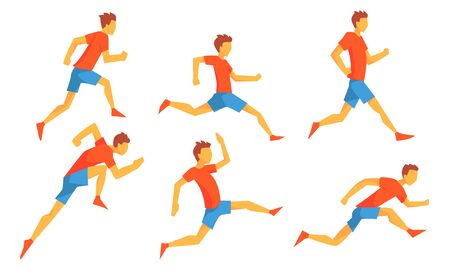 Man Dressed in Sportswear Running Set, Male Athlete in Motion, Sportsman Character Participating in Long or Short Distance Cartoon Vector Illustration