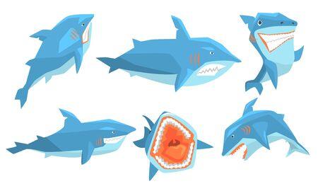 Shark in Different Poses Set, Ocean Scary Animal Character, Underwater Marine Predator Vector Illustration