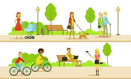 People Relaxing and Doing Sports in the Public Park, Men and Women Walking, Riding Bicycle, Using Laptop Computer, Making Selfie Vector Illustration Stock Illustratie