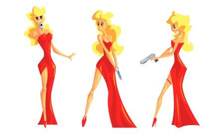 Blonde Woman in Red Dress Set, Beautiful Female Secret Agent Vector Illustration Illustration