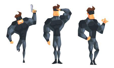 Secret Agent in Black Suir in Different Actions Set Vector Illustration