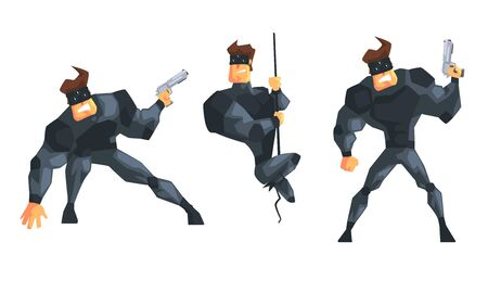 Secret Agent or Spy in Black Suir in Different Actions Set Vector Illustration