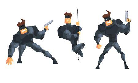 Secret Agent or Spy in Black Suir in Different Actions Set Vector Illustration