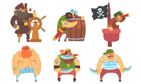 Funny Brave Sailors Pirates and Captain Set, Male Buccaneers Cartoon Characters Vector Illustration Illustration