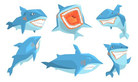 Blue Shark in Different Poses Set, Ocean Scary Animal Character, Underwater Marine Predator Vector Illustration on White Background.