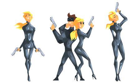 Fille d'espion dans des vêtements en cuir noirs avec l'ensemble d'armes à feu, illustration de vecteur d'agent secret féminin
