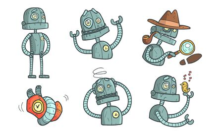 Vintage Robot Character Set, Steampunk Robotics in Different Situations Vector Illustration Ilustração