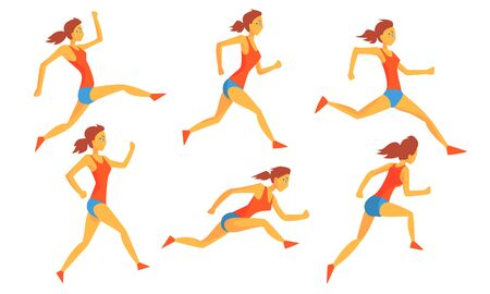 Young Woman Dressed in Sportswear Running Set, Female Athlete in Motion, Sportswoman Character Participating in Long or Short Distance Vector Illustration 向量圖像