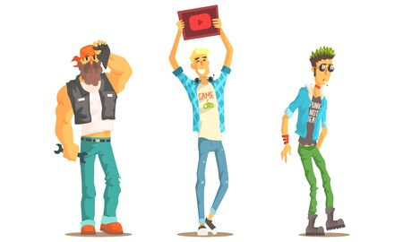 Men of Different Subcultures Set, Biker, Gamer, Punk Male Characters Vector Illustration